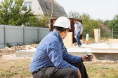 Builder on coffee break — Stock Photo