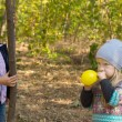 Cute little girl blowing up a balloon — Stock Photo #57398257