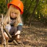 Cute little girl construction worker — Stock Photo #57398491