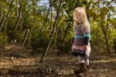 Stylish little blond girl in autumn fashion — Stock Photo