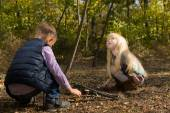 Little Kids Playing at the Woods During Autumn — Stock Photo