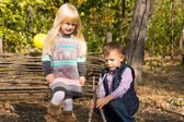 Young boy and girl playing outdoors in woodland — Stok fotoğraf