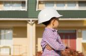 Little Engineer Kid Looking at the House Seriously — Stock Photo