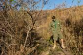 Scout steeping onto a narrow log bridge — Stock Photo