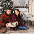 Young Partners with Present Sitting on the Floor — Stock Photo #58733071