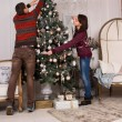 Young man and woman decorating for Christmas — Stok fotoğraf #58733217