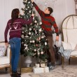 Couple decorating the family Christmas tree — Stock Photo #58733331