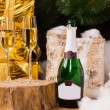 Christmas still life with two champagne flutes — Stock Photo #58733549