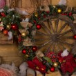 Wooden Nautical Ship Wheel Christmas Wreath — Stock Photo #58734193