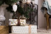 Beautiful Christmas Gifts Below Christmas Tree — Стоковое фото
