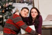 Sweet Couple in Winter Shirts Looking at Camera — Стоковое фото