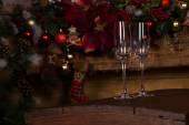 Empty Champagne Flute Glasses on Wooden Platform — Stock Photo