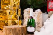 Christmas still life with two champagne flutes — Stock Photo