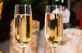 Close up Wines on Elegant Flute Glasses — Стоковое фото