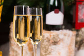 Glasses of Champagne on Elegant Flute Glasses — Stock Photo