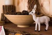 Ornamental white Christmas reindeer — Stock Photo