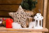 Simple Christmas Decors on Wooden Table — Stock Photo