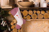 Christmas Stocking Hanging from Rustic Mantle — Stock Photo