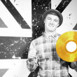 Smiling Man in Monochrome with Golden Vinyl Record — Stock Photo #61428803