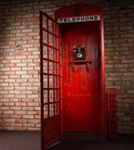 Red Public Telephone Booth with Open Door — Fotografia Stock