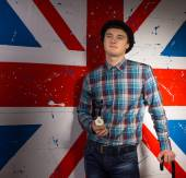 Man in Trendy Fashion In Front Britain Flag — Stock Photo