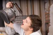 Close up Young Man Drinking From Vintage Kettle — Stock Photo