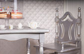 Silver Chair at Dining Table Set for Tea with Cake — Stock Photo