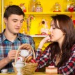 Young White Couple Dating at the Cafe — Stock Photo #61460139