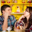 Happy Young Couple Looking Each Other at the Cafe — Stock Photo #61460171