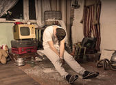 Young Man Taking a Nap at Messy Abandoned Room — Foto de Stock