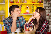 Happy Young Couple Looking Each Other at the Cafe — Stock Photo