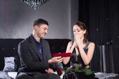 Woman Received a Jewelry Gift From Boyfriend — Stock Photo