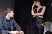 Couple in Formal Wear Having Argument — Stock Photo