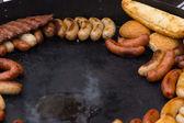 Delicious assortment of grilled sausages — Foto de Stock