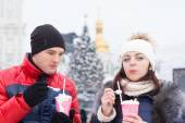 Sweethearts with Milkshake on Winter Season — Stockfoto