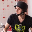 Handsome Young Man Wearing Black Bike Helmet — Stock Photo #68607069