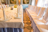 Elegant table and seating at a wedding — Stock Photo