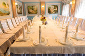 Long formal table at a wedding venue — Stock Photo