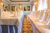 Elegant wedding venue and formal table — Stock Photo