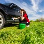 Woman Washing Black Car with Sponge in Green Field — Stock Photo #73876767