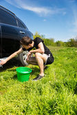 Man Washing Car in Field on Sunny Day — Stock Photo