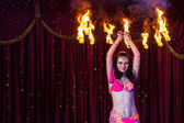 Female Fire Dancer Twirling Flaming Apparatus — Stock Photo