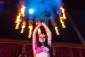 Female Fire Dancer Holding Flaming Apparatus — Stock Photo