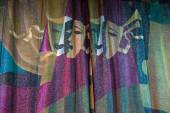 Detail of Drama Masks Embossed on Theater Curtains — Stock Photo