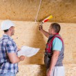 Foreman Watching Worker Apply Caulking in New Home — Stockfoto #74802425