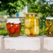 Jars of Preserved Vegetables on Garden Wall — Stock Photo #74804417