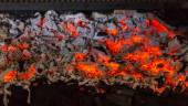 Close Up of Red Hot Coals in Barbecue Grill — Foto Stock