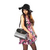 Asian girl with bag posing — Stock Photo