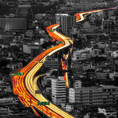 Traffic and blurred light trails — Stock Photo