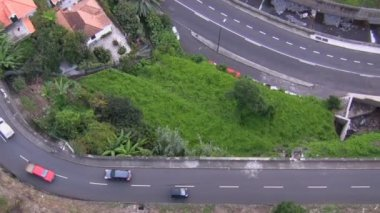 Traffic view from above in the mountain area — Wideo stockowe